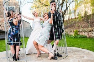 Wedding party in the Birdcage Gazebo